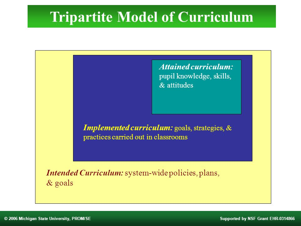 © 2006 Michigan State University, PROM/SESupported by NSF Grant EHR Intended Curriculum: system-wide policies, plans, & goals Implemented curriculum: goals, strategies, & practices carried out in classrooms Attained curriculum: pupil knowledge, skills, & attitudes Tripartite Model of Curriculum
