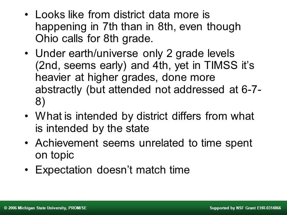 © 2006 Michigan State University, PROM/SESupported by NSF Grant EHR Looks like from district data more is happening in 7th than in 8th, even though Ohio calls for 8th grade.