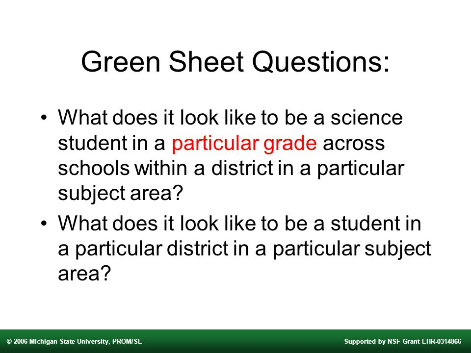 © 2006 Michigan State University, PROM/SESupported by NSF Grant EHR Green Sheet Questions: What does it look like to be a science student in a particular grade across schools within a district in a particular subject area.
