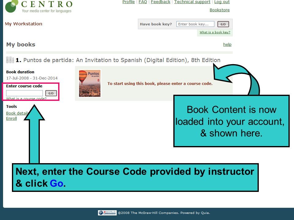 Book Content is now loaded into your account, & shown here.