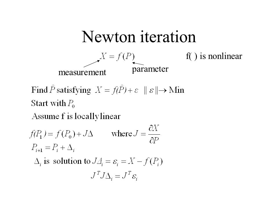 Newton iteration measurement parameter f( ) is nonlinear