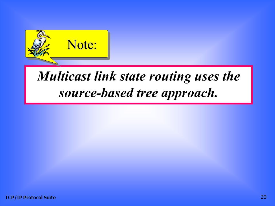 TCP/IP Protocol Suite 20 Multicast link state routing uses the source-based tree approach. Note: