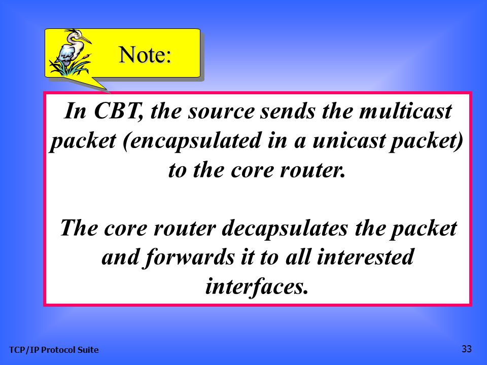 TCP/IP Protocol Suite 33 In CBT, the source sends the multicast packet (encapsulated in a unicast packet) to the core router.