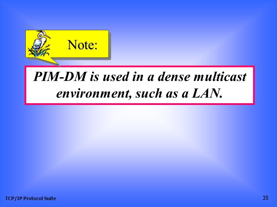 TCP/IP Protocol Suite 35 PIM-DM is used in a dense multicast environment, such as a LAN. Note: