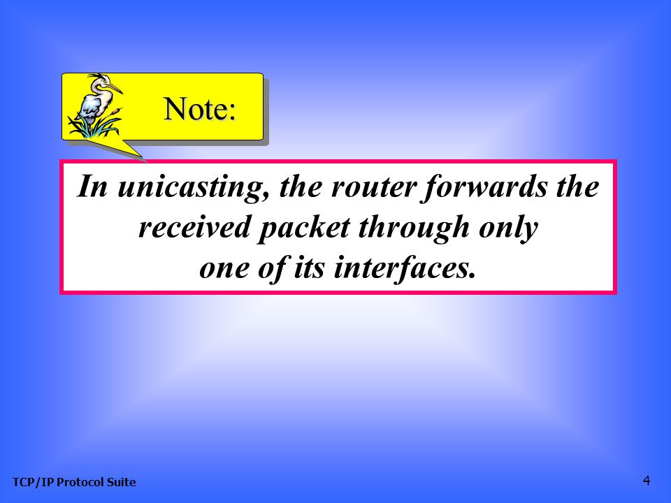 TCP/IP Protocol Suite 4 In unicasting, the router forwards the received packet through only one of its interfaces.