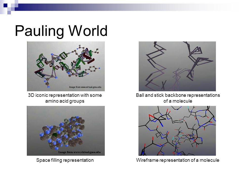 Pauling World 3D iconic representation with some amino acid groups Ball and stick backbone representations of a molecule Space filling representationWireframe representation of a molecule