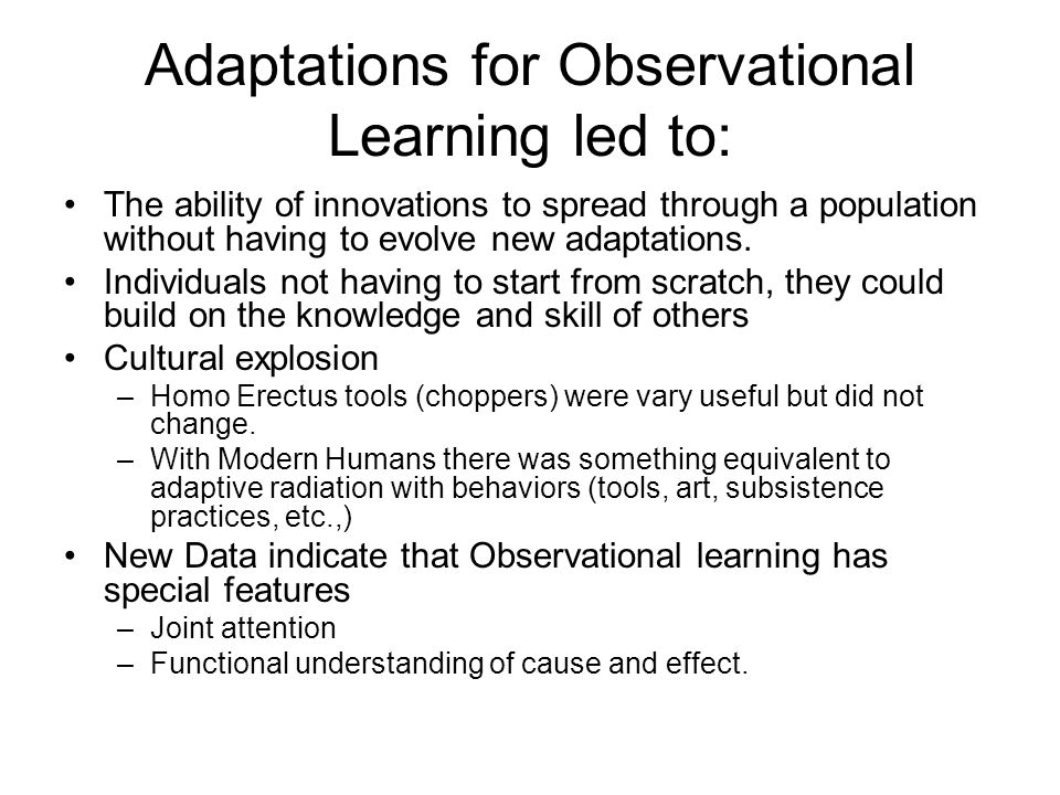 Adaptations for Observational Learning led to: The ability of innovations to spread through a population without having to evolve new adaptations.
