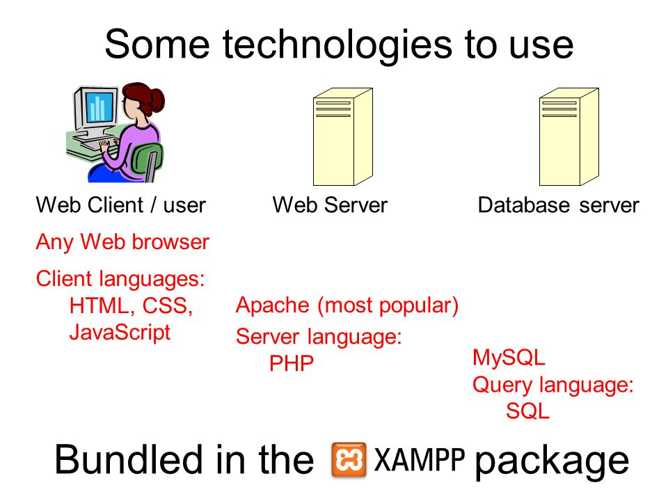 Some technologies to use Web Client / userWeb ServerDatabase server Any Web browser Apache (most popular) Server language: PHP MySQL Query language: SQL Bundled in the package Client languages: HTML, CSS, JavaScript