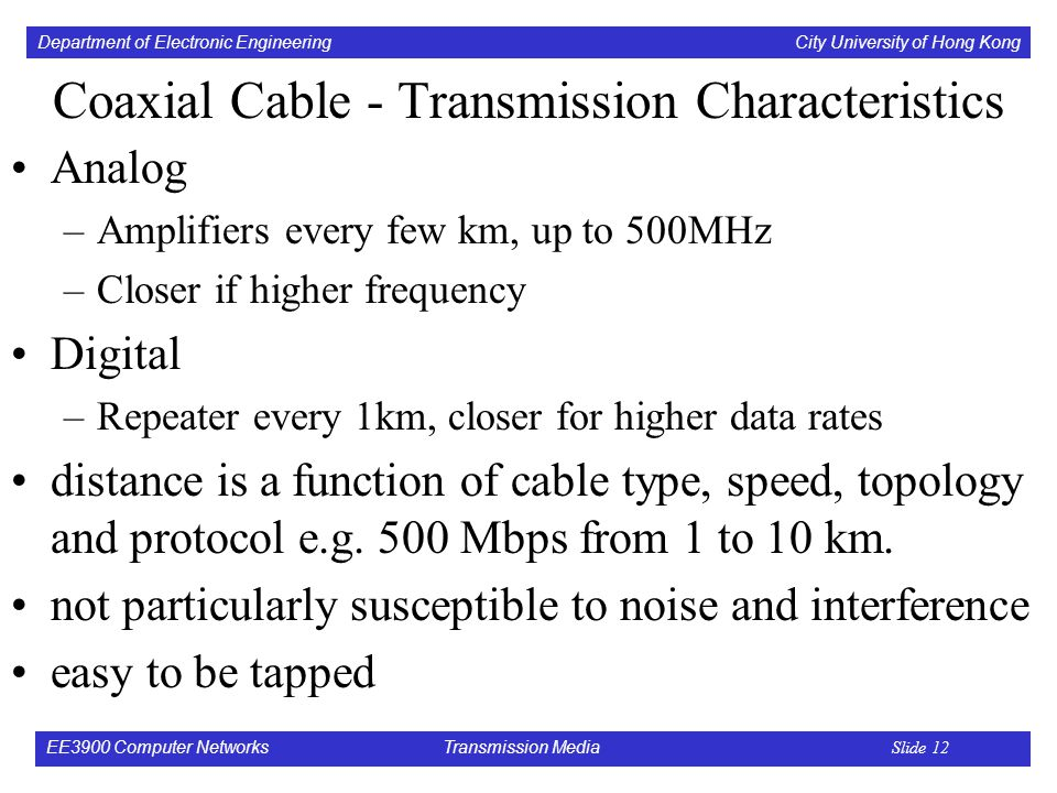 Department of Electronic Engineering City University of Hong Kong EE3900 Computer Networks Transmission Media Slide 12 Coaxial Cable - Transmission Characteristics Analog –Amplifiers every few km, up to 500MHz –Closer if higher frequency Digital –Repeater every 1km, closer for higher data rates distance is a function of cable type, speed, topology and protocol e.g.
