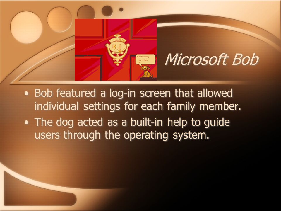 Microsoft Bob Bob featured a log-in screen that allowed individual settings for each family member.