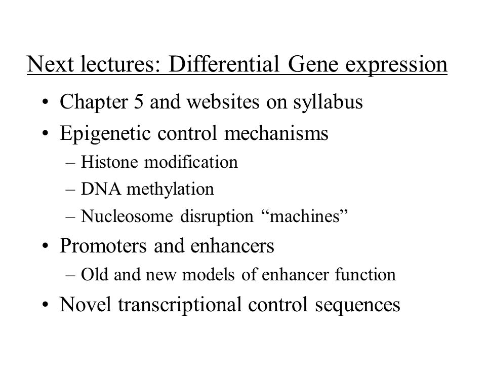 Next lectures: Differential Gene expression Chapter 5 and websites on syllabus Epigenetic control mechanisms –Histone modification –DNA methylation –Nucleosome disruption machines Promoters and enhancers –Old and new models of enhancer function Novel transcriptional control sequences