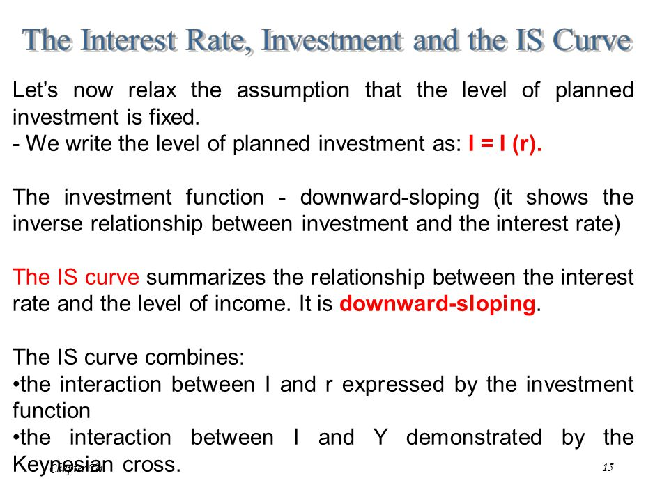 Chapter Ten15 Let's now relax the assumption that the level of planned investment is fixed.