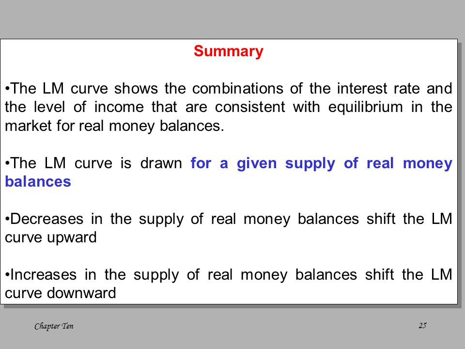 Chapter Ten25 Summary The LM curve shows the combinations of the interest rate and the level of income that are consistent with equilibrium in the market for real money balances.