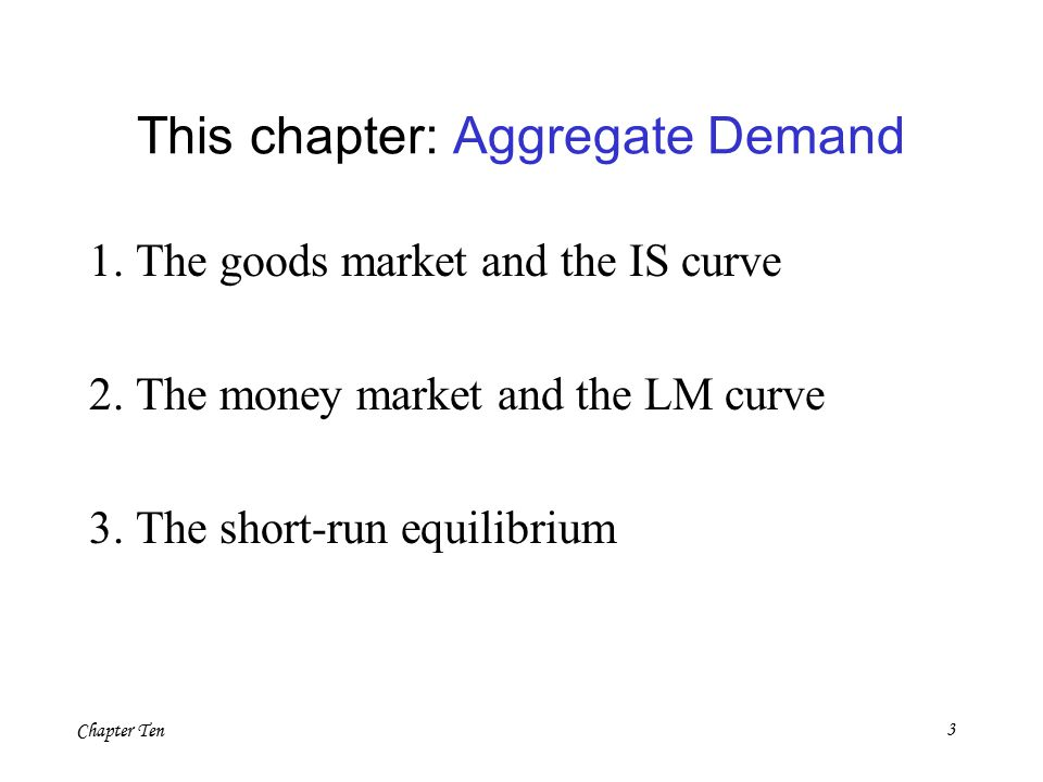 Chapter Ten3 This chapter: Aggregate Demand 1. The goods market and the IS curve 2.