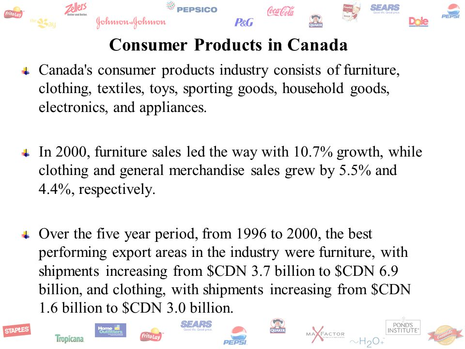 Consumer Products in Canada Canada s consumer products industry consists of furniture, clothing, textiles, toys, sporting goods, household goods, electronics, and appliances.