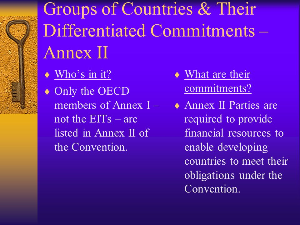 Groups of Countries & Their Differentiated Commitments – Annex II  Who's in it.