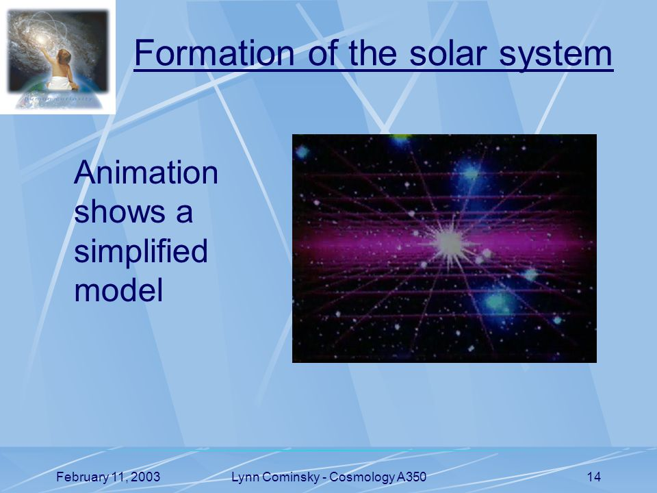 February 11, 2003Lynn Cominsky - Cosmology A35014 Formation of the solar system Animation shows a simplified model