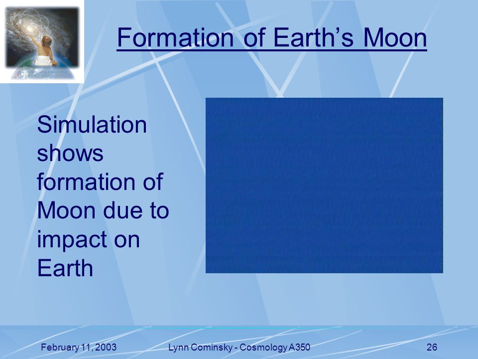 February 11, 2003Lynn Cominsky - Cosmology A35026 Formation of Earth's Moon Simulation shows formation of Moon due to impact on Earth