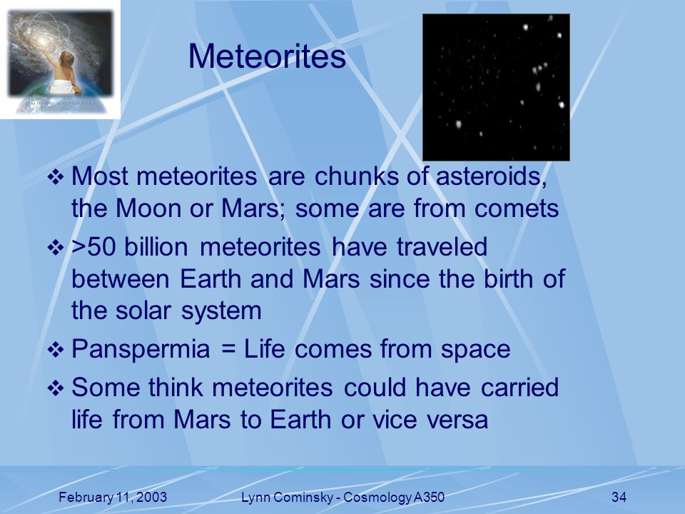 February 11, 2003Lynn Cominsky - Cosmology A35034 Meteorites  Most meteorites are chunks of asteroids, the Moon or Mars; some are from comets  >50 billion meteorites have traveled between Earth and Mars since the birth of the solar system  Panspermia = Life comes from space  Some think meteorites could have carried life from Mars to Earth or vice versa