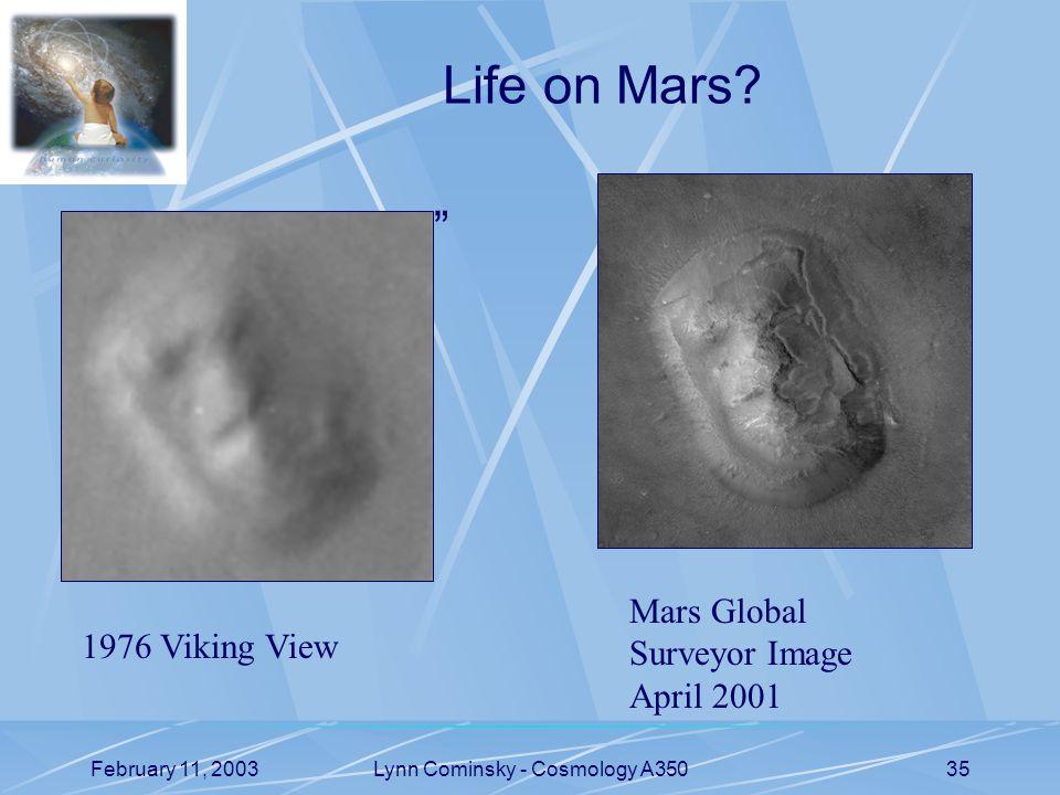 February 11, 2003Lynn Cominsky - Cosmology A35035 Life on Mars.