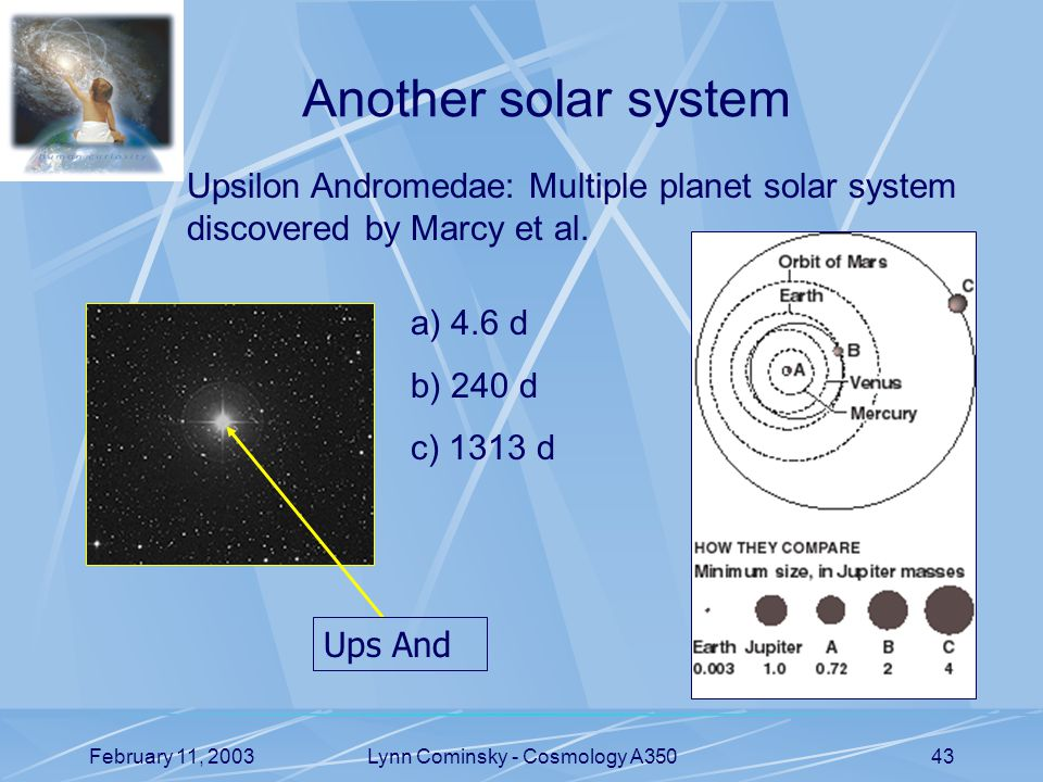 February 11, 2003Lynn Cominsky - Cosmology A35043 Another solar system Upsilon Andromedae: Multiple planet solar system discovered by Marcy et al.