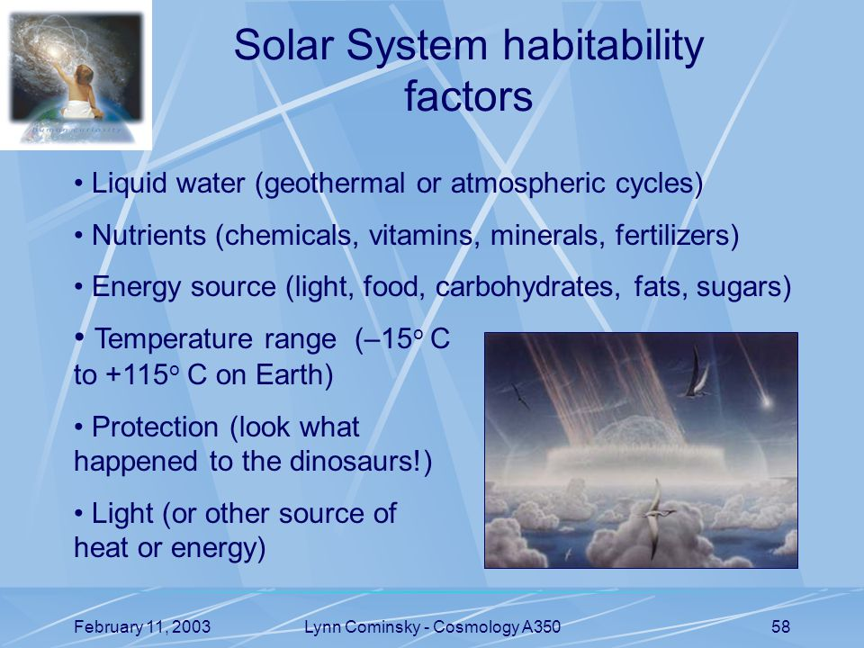 February 11, 2003Lynn Cominsky - Cosmology A35058 Solar System habitability factors Temperature range (–15 o C to +115 o C on Earth) Protection (look what happened to the dinosaurs!) Light (or other source of heat or energy) Liquid water (geothermal or atmospheric cycles) Nutrients (chemicals, vitamins, minerals, fertilizers) Energy source (light, food, carbohydrates, fats, sugars)