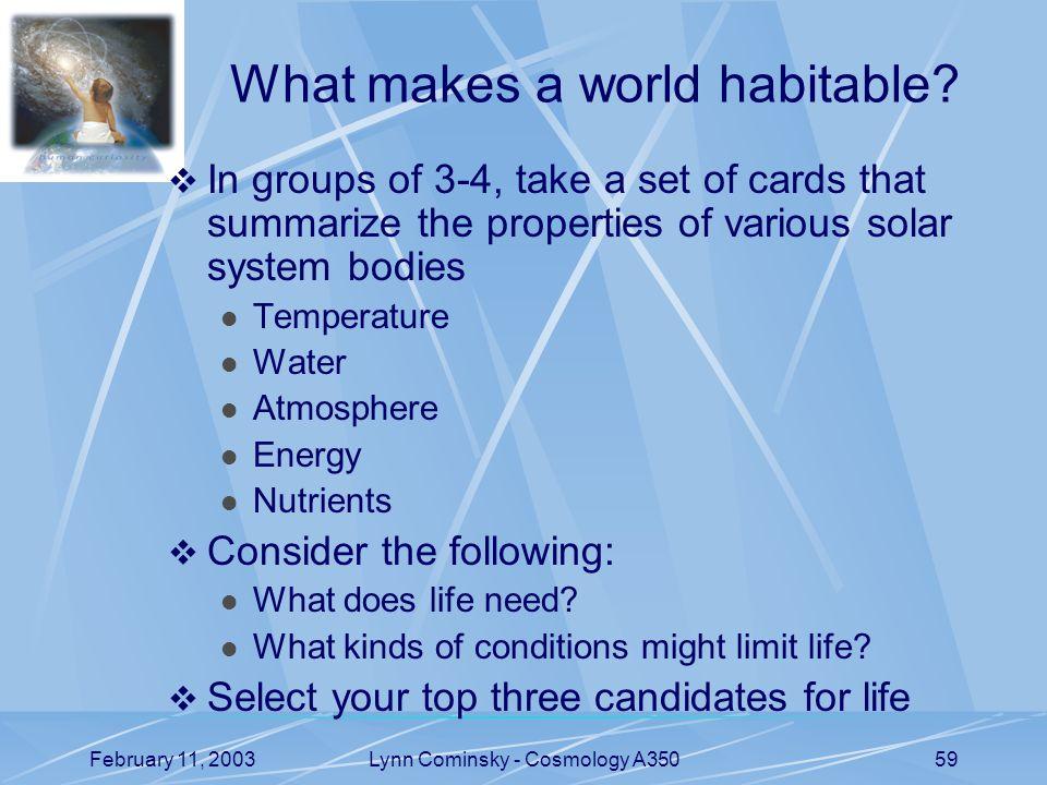 February 11, 2003Lynn Cominsky - Cosmology A35059 What makes a world habitable.