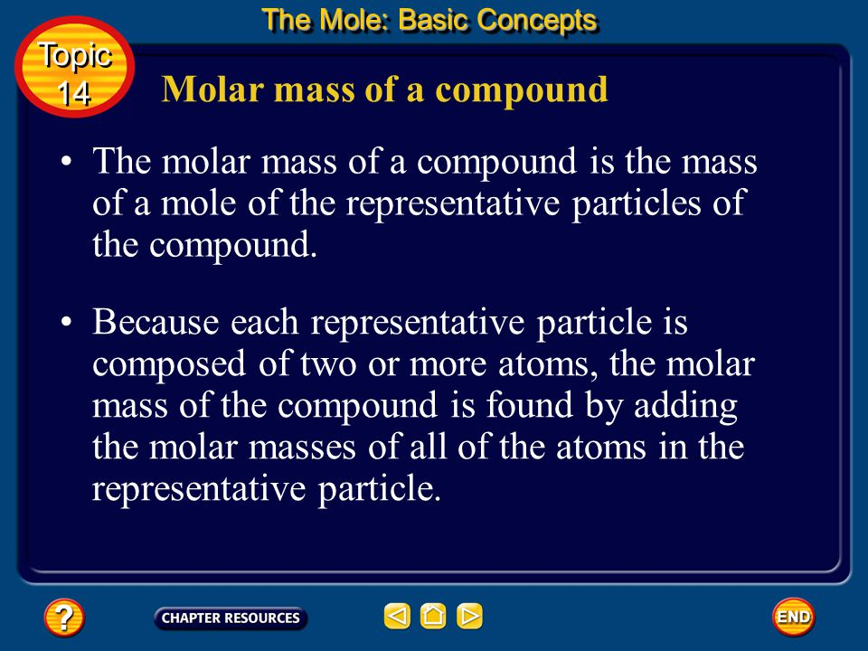 Moles of Compounds In either case, a mole of a compound contains as many moles of each element as are indicated by the subscripts in the formula for the compound.