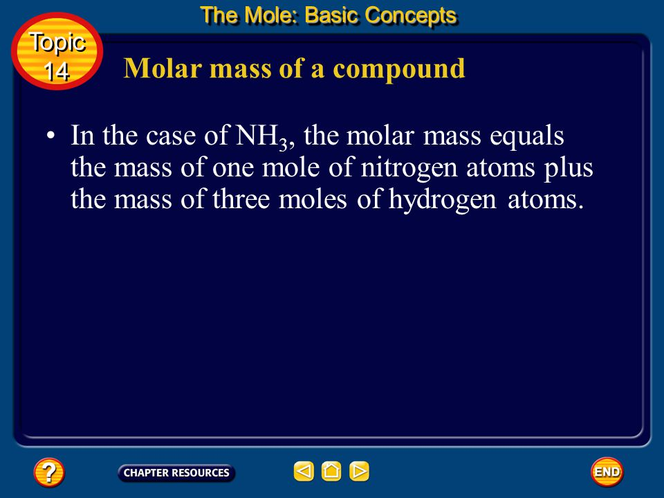 Molar mass of a compound The molar mass of a compound is the mass of a mole of the representative particles of the compound.