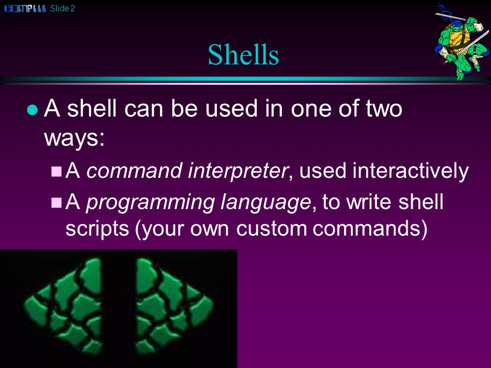 Slide 2 Shells l A shell can be used in one of two ways: n A command interpreter, used interactively n A programming language, to write shell scripts (your own custom commands)