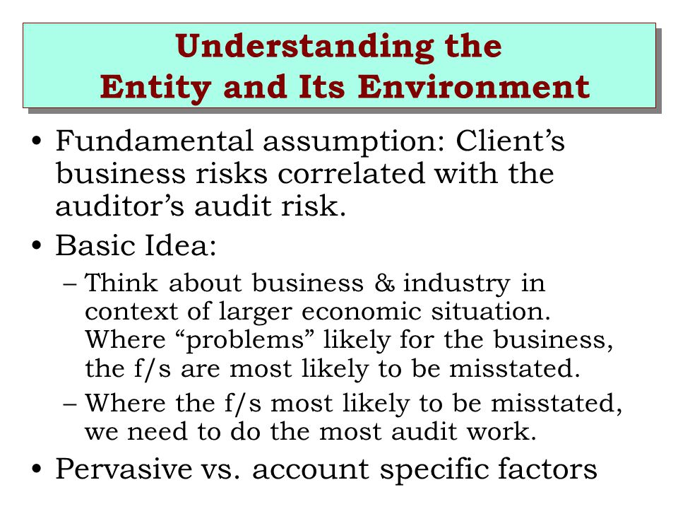 Understanding the Entity and Its Environment Fundamental assumption: Client's business risks correlated with the auditor's audit risk.