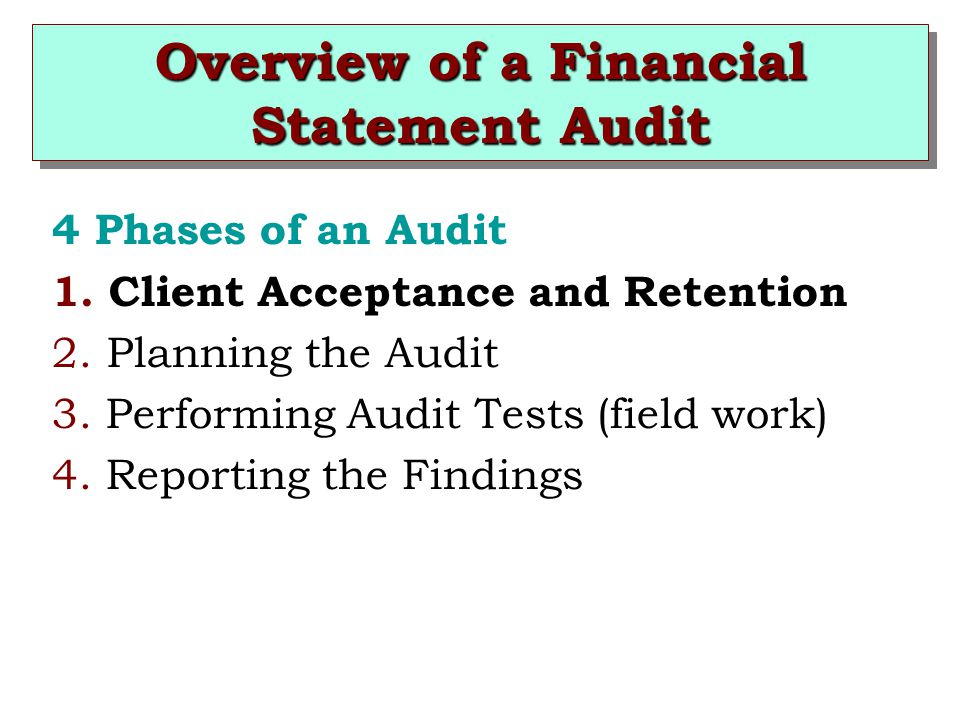 Overview of a Financial Statement Audit 4 Phases of an Audit 1.