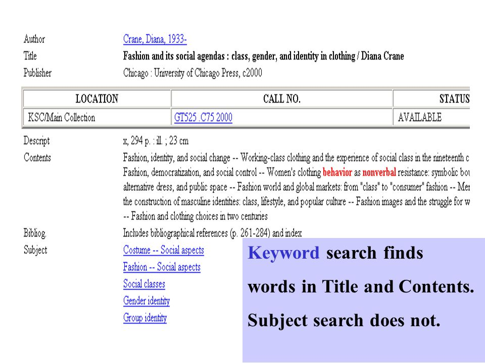 Keyword search finds words in Title and Contents. Subject search does not.