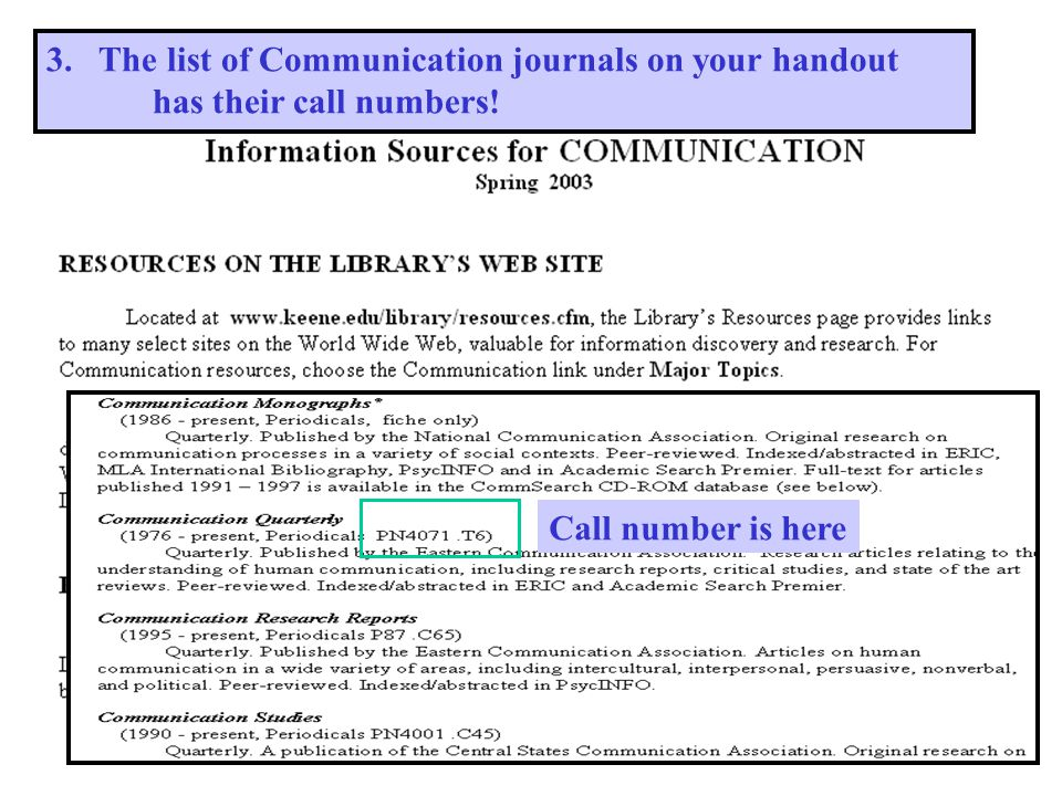 3. The list of Communication journals on your handout has their call numbers! Call number is here