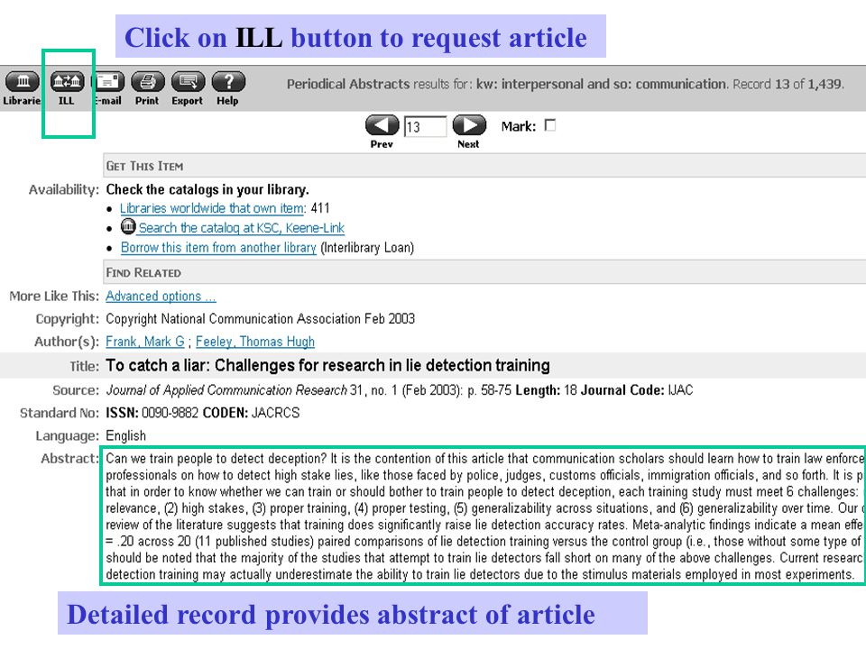 Detailed record provides abstract of article Click on ILL button to request article