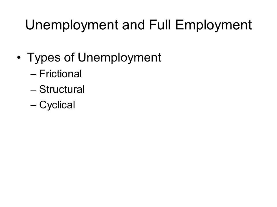 Unemployment and Full Employment Types of Unemployment –Frictional –Structural –Cyclical
