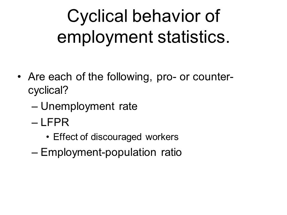 Cyclical behavior of employment statistics. Are each of the following, pro- or counter- cyclical.