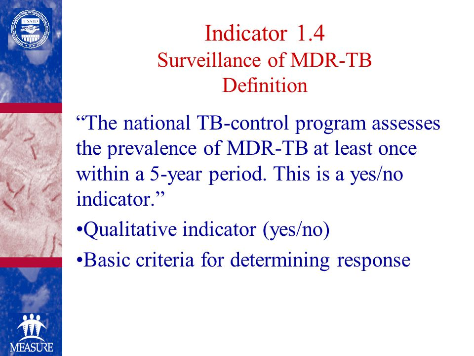 Indicator 1.4 Surveillance of MDR-TB Definition The national TB-control program assesses the prevalence of MDR-TB at least once within a 5-year period.