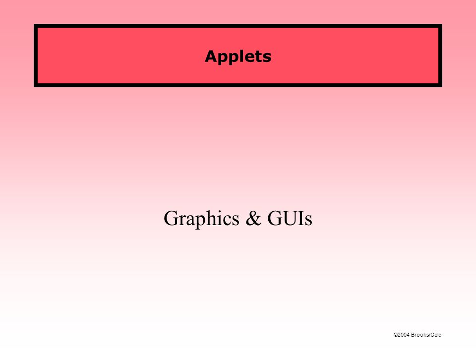 ©2004 Brooks/Cole Applets Graphics & GUIs