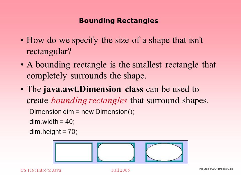 Figures ©2004 Brooks/Cole CS 119: Intro to JavaFall 2005 Bounding Rectangles How do we specify the size of a shape that isn t rectangular.
