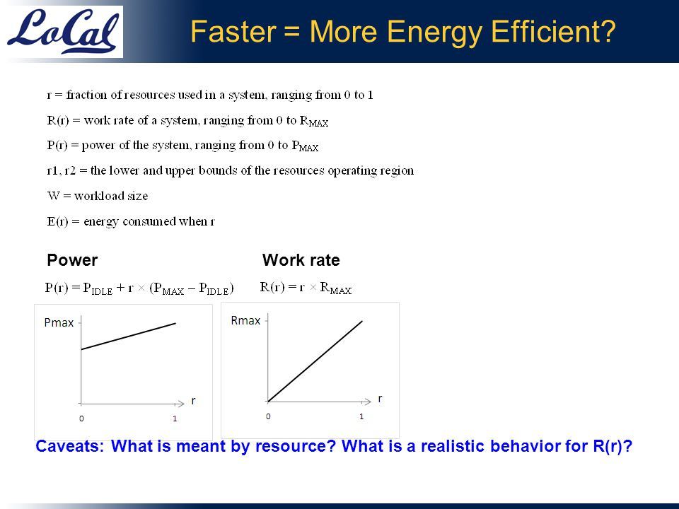 Faster = More Energy Efficient. Power Work rate Caveats: What is meant by resource.