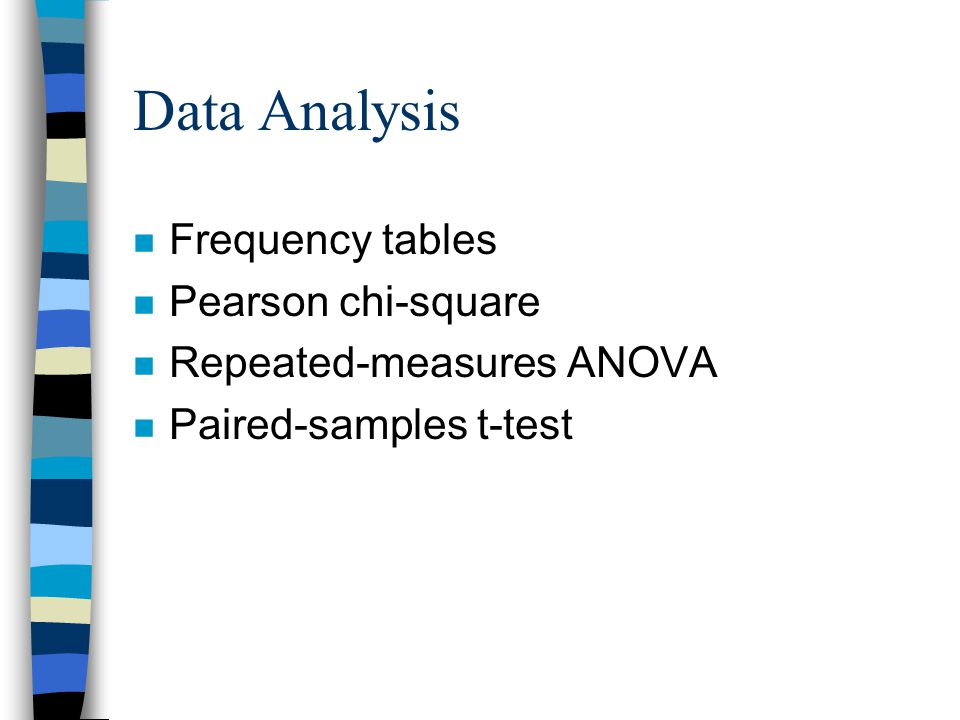 Data Analysis n Frequency tables n Pearson chi-square n Repeated-measures ANOVA n Paired-samples t-test