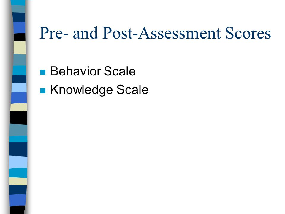 Pre- and Post-Assessment Scores n Behavior Scale n Knowledge Scale
