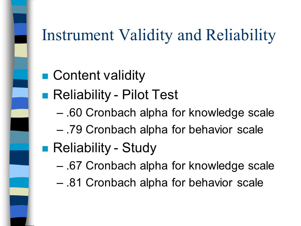 Instrument Validity and Reliability n Content validity n Reliability - Pilot Test –.60 Cronbach alpha for knowledge scale –.79 Cronbach alpha for behavior scale n Reliability - Study –.67 Cronbach alpha for knowledge scale –.81 Cronbach alpha for behavior scale