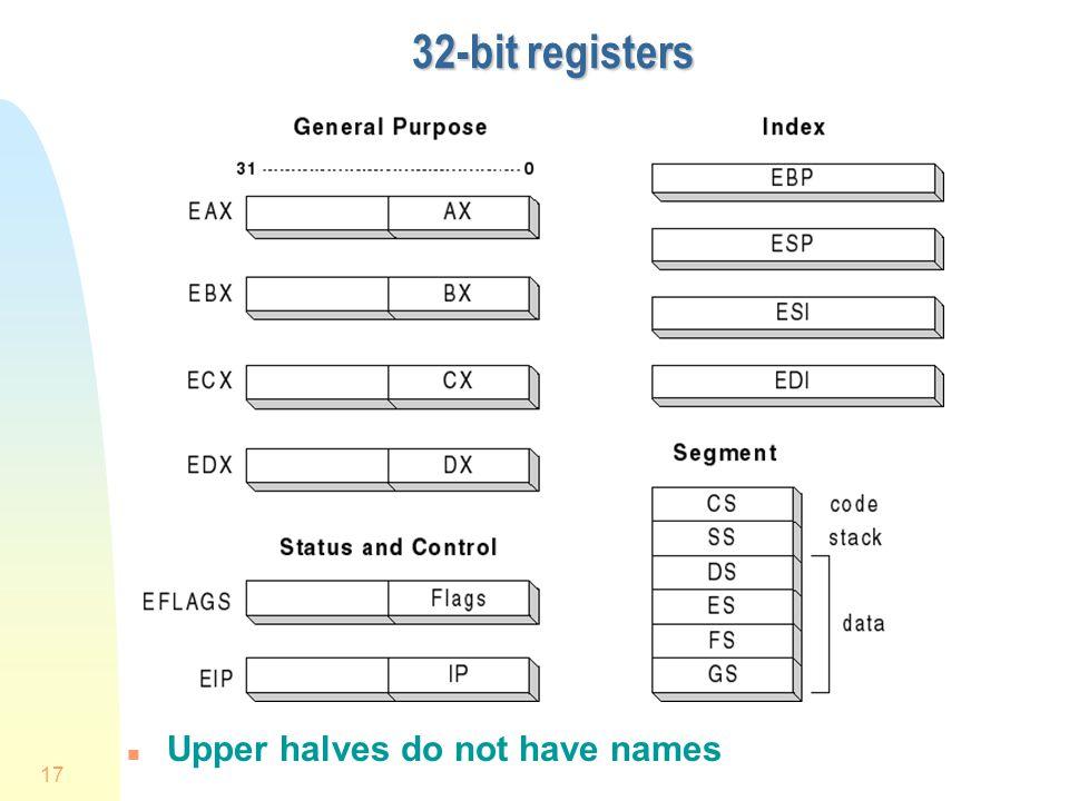 17 32-bit registers n Upper halves do not have names