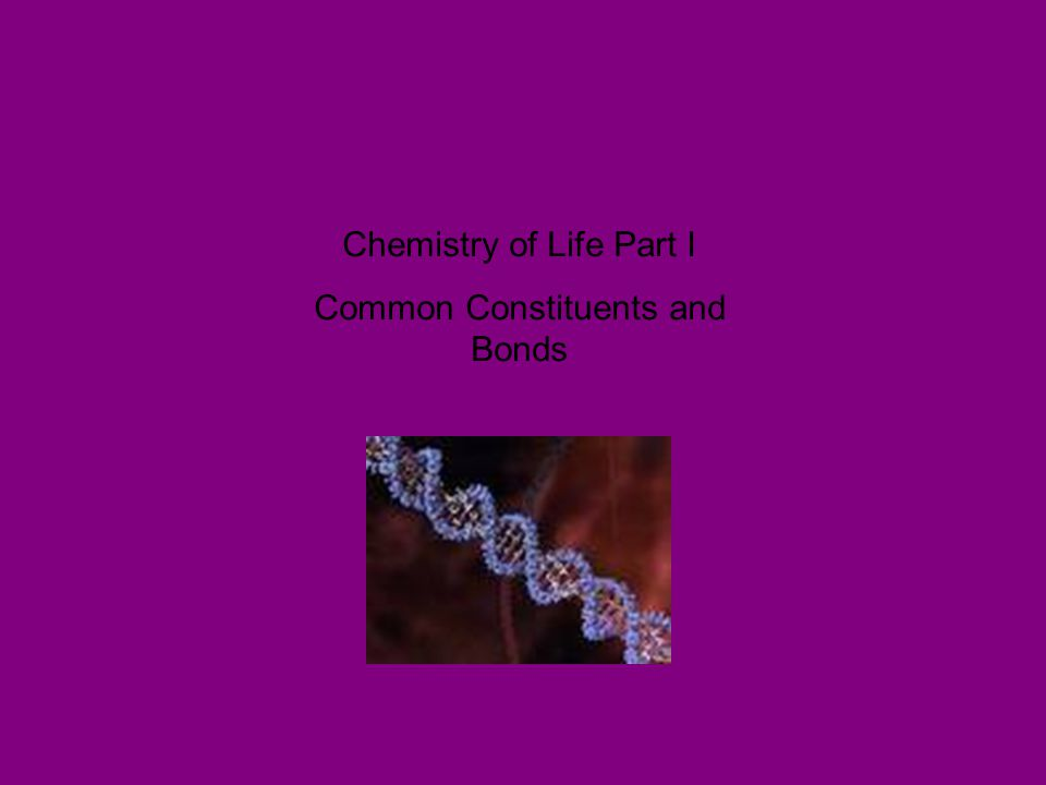 Chemistry of Life Part I Common Constituents and Bonds