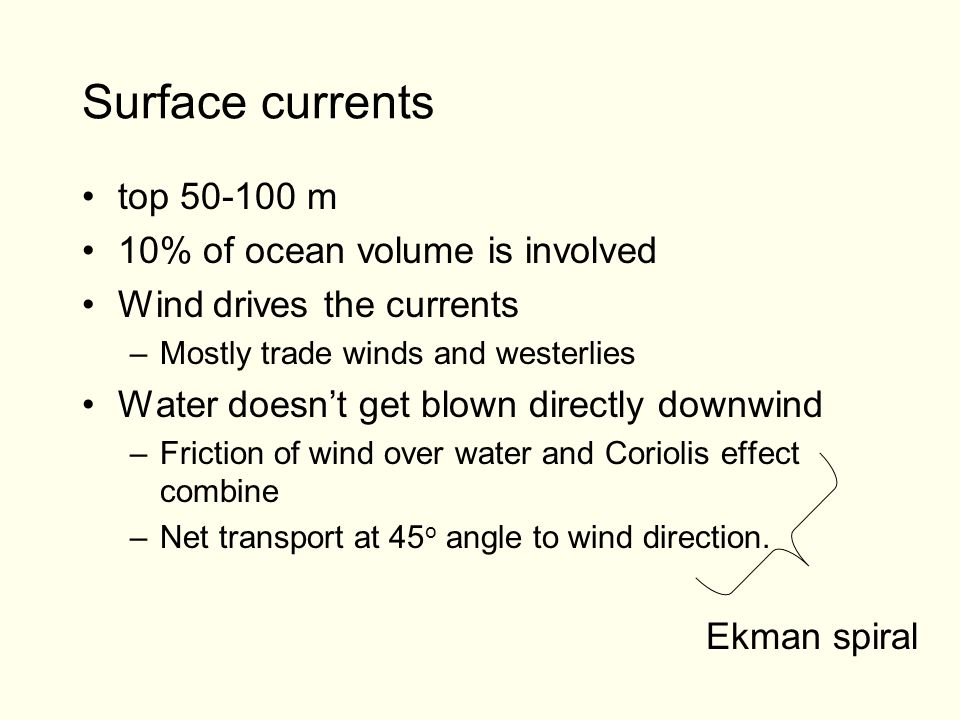 Surface currents top m 10% of ocean volume is involved Wind drives the currents –Mostly trade winds and westerlies Water doesn't get blown directly downwind –Friction of wind over water and Coriolis effect combine –Net transport at 45 o angle to wind direction.