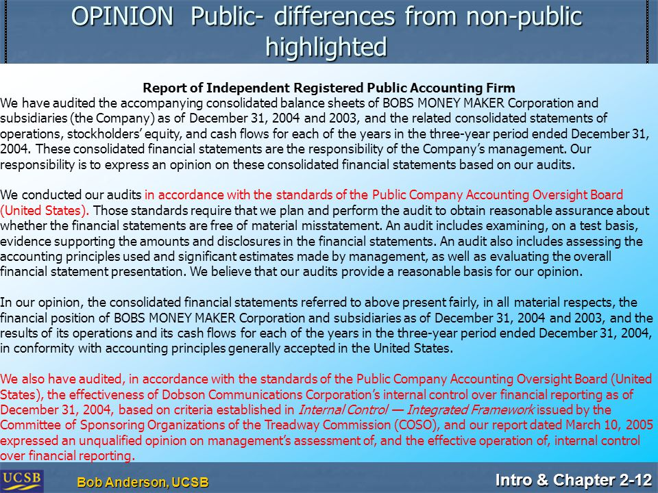 Intro & Chapter 2-12 Bob Anderson, UCSB OPINION Public- differences from non-public highlighted Report of Independent Registered Public Accounting Firm We have audited the accompanying consolidated balance sheets of BOBS MONEY MAKER Corporation and subsidiaries (the Company) as of December 31, 2004 and 2003, and the related consolidated statements of operations, stockholders' equity, and cash flows for each of the years in the three-year period ended December 31, 2004.