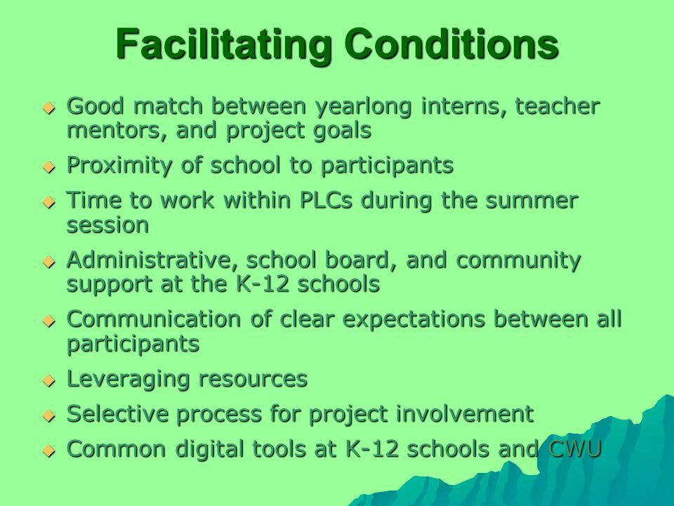 Facilitating Conditions  Good match between yearlong interns, teacher mentors, and project goals  Proximity of school to participants  Time to work within PLCs during the summer session  Administrative, school board, and community support at the K-12 schools  Communication of clear expectations between all participants  Leveraging resources  Selective process for project involvement  Common digital tools at K-12 schools and CWU