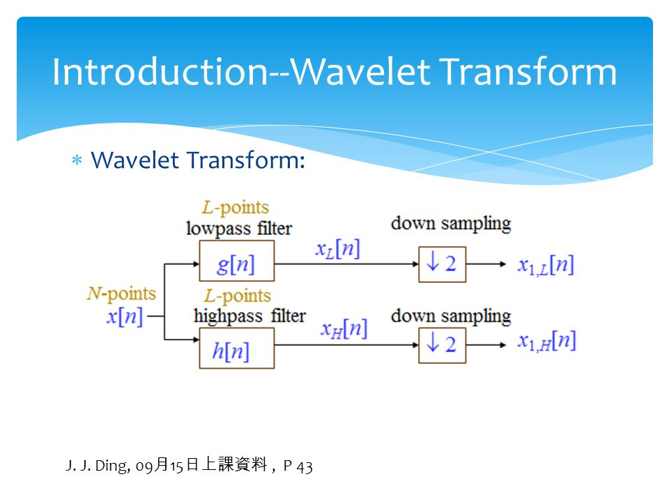  Wavelet Transform: Introduction--Wavelet Transform J. J. Ding, 09 月 15 日上課資料, P 43